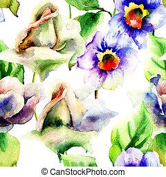 水彩画, ばら, 花, 絵, スイセン