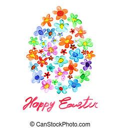 水彩画, イースター, 花, 卵