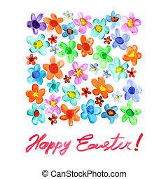 水彩画, イースター, 花, -, 幸せ