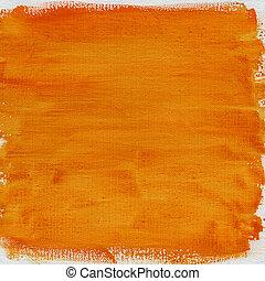 水彩画, オレンジ, キャンバス, 抽象的, 手ざわり