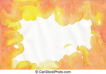水彩画, オレンジ, 抽象的, 背景, 黄色