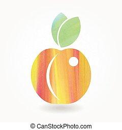 水彩画, オレンジ, 桃, アイコン