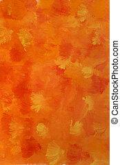 水彩画, オレンジ, 背景, 黄色, 赤