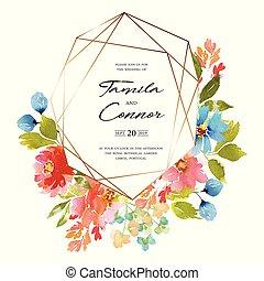 水彩画, カード, 結婚式