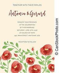 水彩画, カード, 要素, 招待, 結婚式