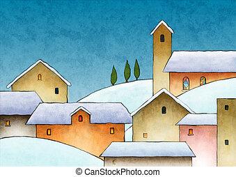 水彩画, クリスマス