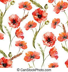 水彩画, ケシ, 花, パターン