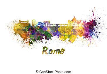 水彩画, スカイライン, ローマ