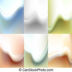 水彩画, セット, ぼやけ, 背景, 背景
