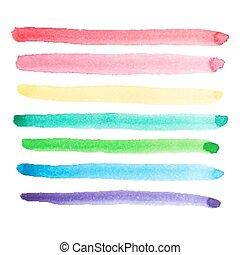 水彩画, セット, 鮮やか, strok, ブラシ