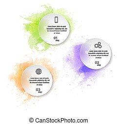 水彩画, テンプレート, infographics