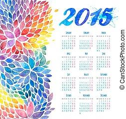 水彩画, デザイン, 年, 新しい, カレンダー, 花
