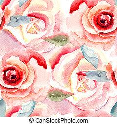 水彩画, バラ, 花, 絵