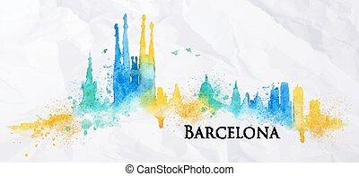水彩画, バルセロナ, シルエット