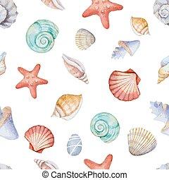 水彩画, パターン, seamless, 海の貝