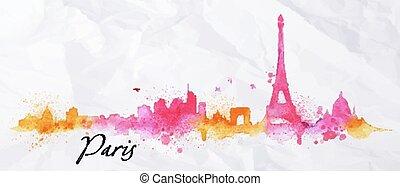 水彩画, パリ, シルエット