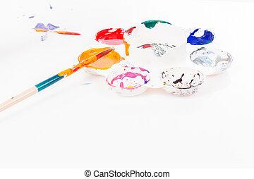 水彩画, パレット, 白い背景