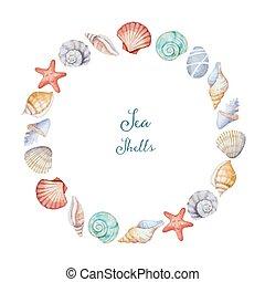 水彩画, フレーム, ラウンド, 海の貝