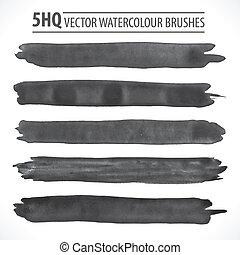 水彩画, ブラシ, ベクトル, セット