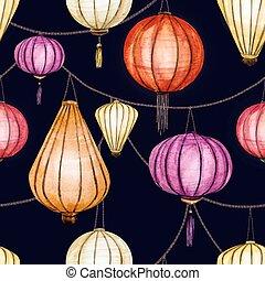 水彩画, ベクトル, seamless, 中国語, パターン