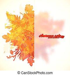 水彩画, ペイントされた, 葉, プラスチック, 秋, 旗