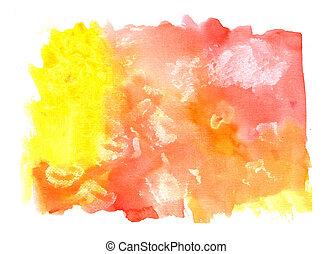 水彩画, ペイントされた, 黄色オレンジ, 背景