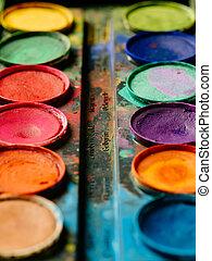 水彩画, ペンキ, パレット, 鮮やか