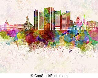 水彩画, ボストン, スカイライン, v2, bac