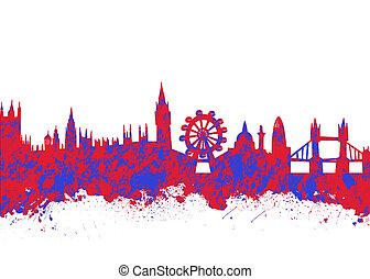 水彩画, ロンドン, スカイライン, 印刷, 芸術