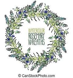 水彩画, ローズマリー, wreath.