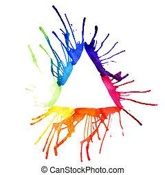 水彩画, 三角形, 輪郭
