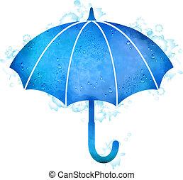 水彩画, 低下, 傘, 雨