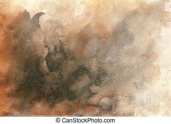 水彩画, 偉人, 背景