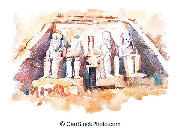 水彩画, 偉人, simbel, 寺院, 図画, 寺院, egypt., ii, ramesses, abu, 絵, aquarelle