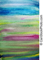 水彩画, 創造的, しまのある, 手, ペイントされた, 芸術, 背景