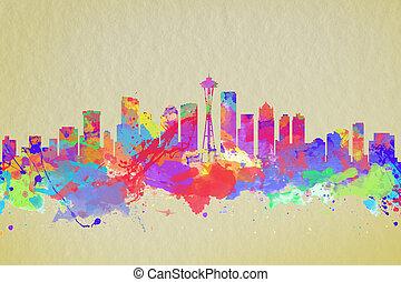 水彩画, 合併した, 芸術, 州, スカイライン, 印刷, シアトル \