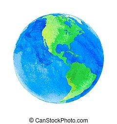 水彩画, 地球, ベクトル, 手ざわり, イラスト