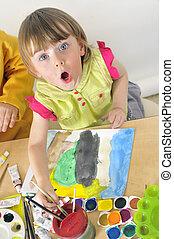 水彩画, 女の子, 絵