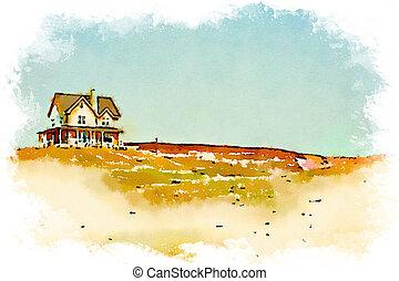 水彩画, 家