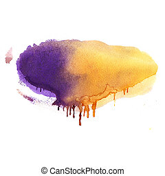 水彩画, 引かれる, 背景, 手