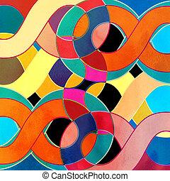 水彩画, 抽象的, レトロ, 背景