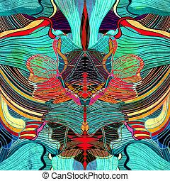 水彩画, 抽象的, 背景, 波