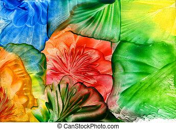 水彩画, 抽象的, 花, 背景, 虹色