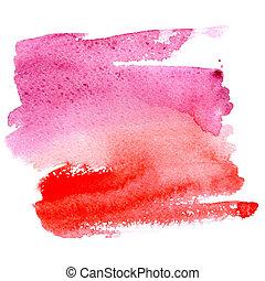 水彩画, 抽象的, 赤い背景