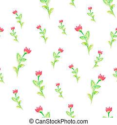 水彩画, 春の花, seamless, パターン