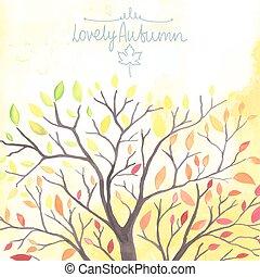 水彩画, 木, leaves., 秋, 倒れる