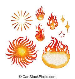 水彩画, 火, fames