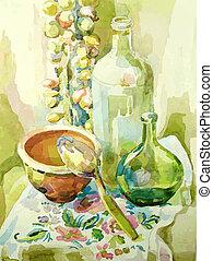 水彩画, 生活, まだ, ハンドメイド, 台所