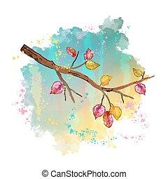 水彩画, 秋, 木の枝