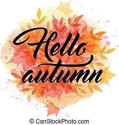 水彩画, 秋, 背景